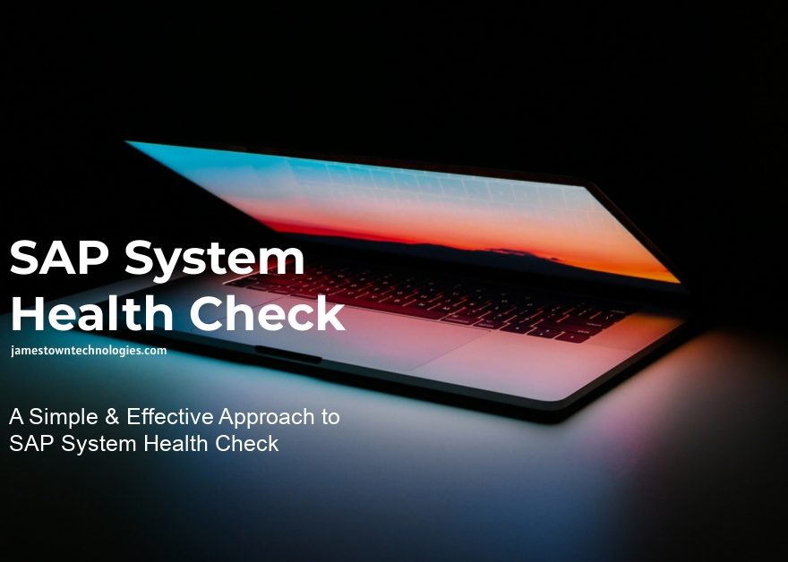 sap system health check is displayed against a dark background showing a computer.