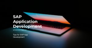 SAP application development is displayed against a dark background.
